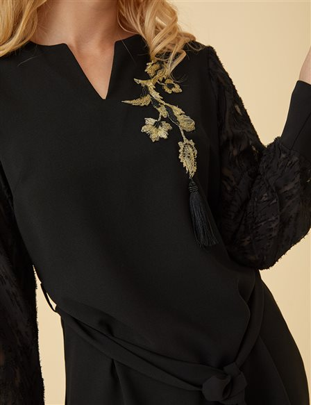 Lace Sleeve Blouse With Guipure B9-10154 Black