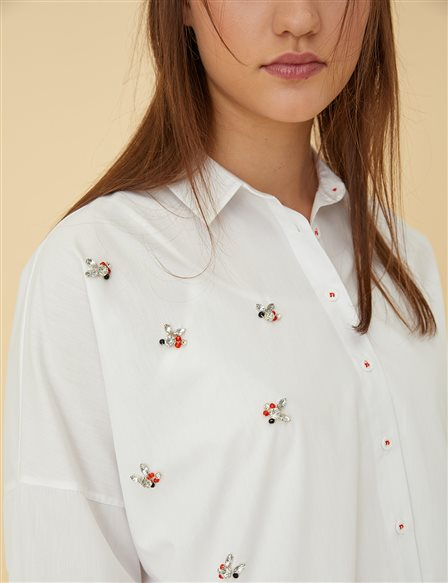 Detailed Shirt Tunic B9 21378 White