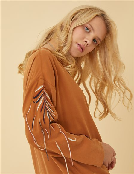 Embroidered Sleeve Tunic B9 21380 Clay