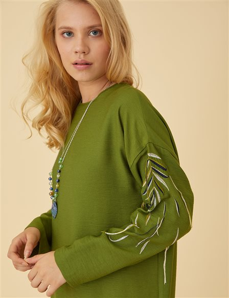 Embroidered Sleeve Tunic B9 21380 Green
