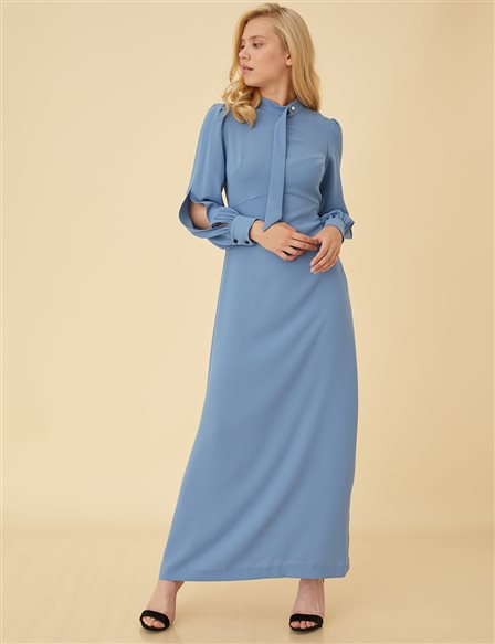 Dress With Slit Sleeve B9-23050 Blue