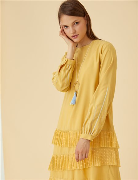 Pleated Tunic B9-21381 Saffron