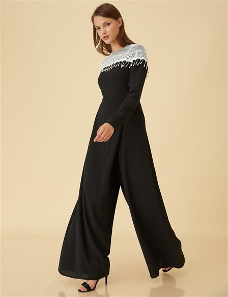 Lace Detailed Jumpsuit B9-22018 Black