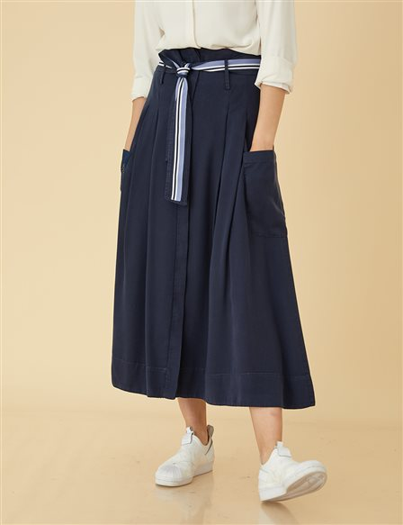 High Waist Skirt B9-12054 Navy