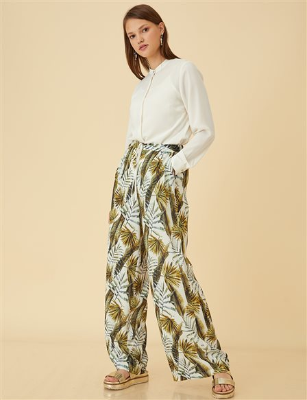 Leaf Patterned Pants B9 19171 Olive