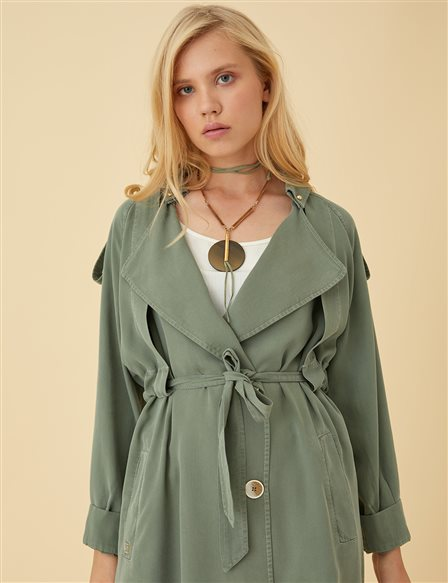 Ruched Sleeve Trenchcoat B9-14055 Green