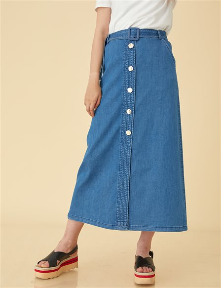 Denim Skirt With Button İndigo B9 12009A