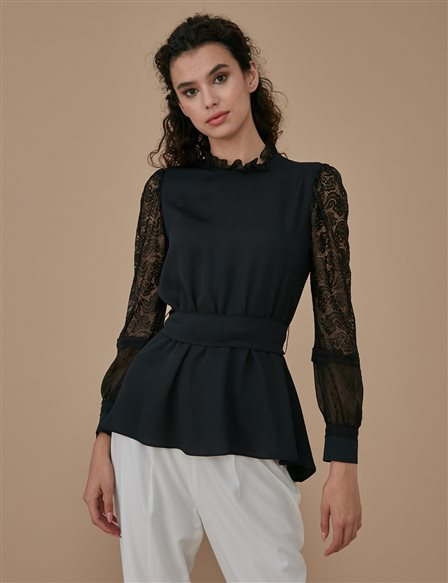 Guipure Lace Sleeve Blouse A9 10022 Black