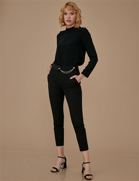 Chain Detailed Skinny Leg Pants A9 19041 Black