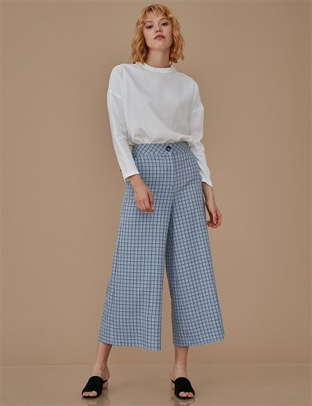 Checkered Wide Leg Pants A9 19044 Blue