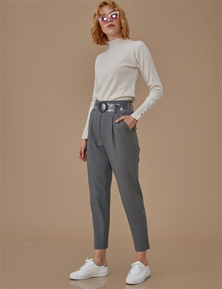 Carrot Pants With Belt Detail A9 19073 Grey