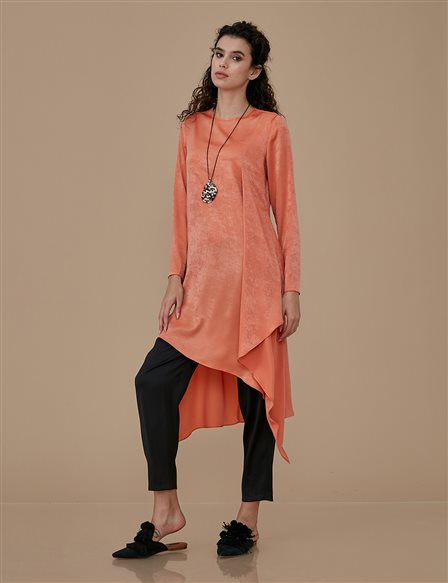 Asymmetric Tunic With Necklace A9 21116 Orange