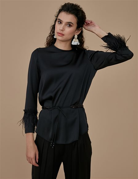 Sleeve Detailed Sateen Blouse A9 10028 Black