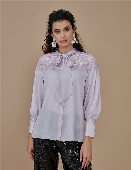 Collar Detailed Blouse With Lace A9 10039 Lilac
