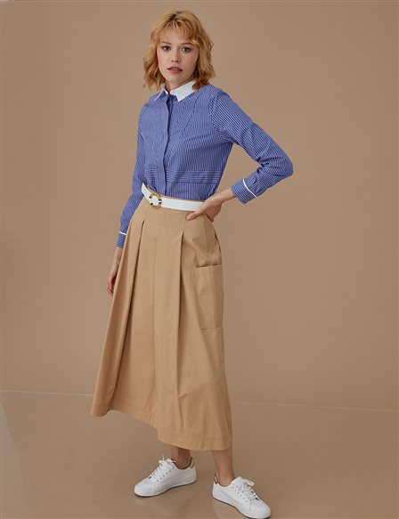 Pleated Skirt With Belt A9 12018 Beige