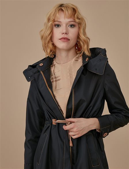 Colorful Sewed Trenchcoat A9 14018 Black