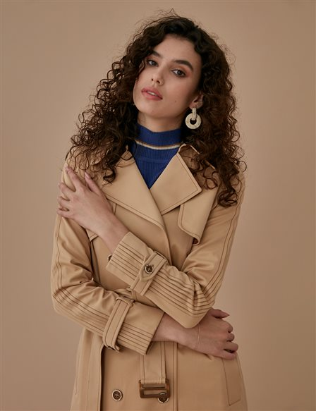 Classic Trenchcoat With Belt A9 14025 Beige