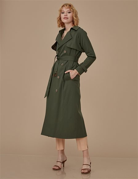 Classic Trenchcoat With Belt A9 14025 Khaki