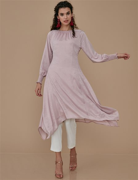 Ruched Sleeve Tunic Dress A9 21139 Powder