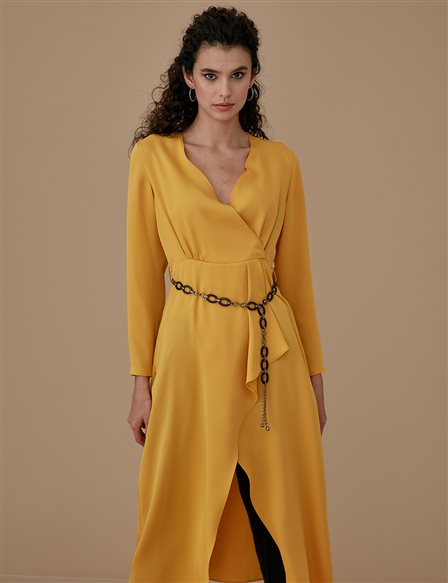 Tunic Dress With Belt Detailed A9 21143 Yellow