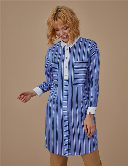 Oversize Striped Tunic A9 21151 Navy
