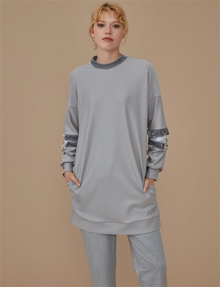 Sleeve Detailed Sweatshirt A9 21159 Grey