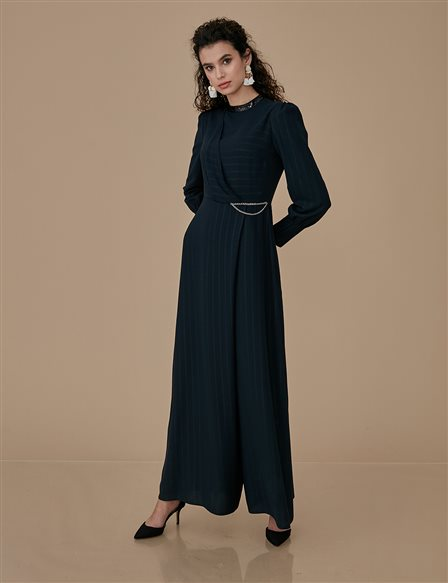 Striped Jumpsuit With Chain A9 22002 Black