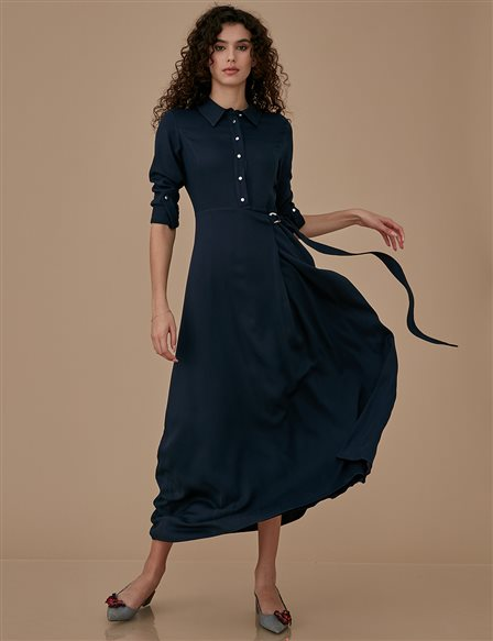 Dress With Belt A9 23027 Navy