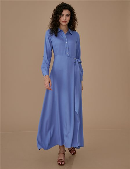 Dress With Belt A9 23027 Blue