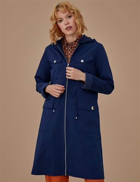 KYR Ruched Trenchcoat A9 74007 Navy