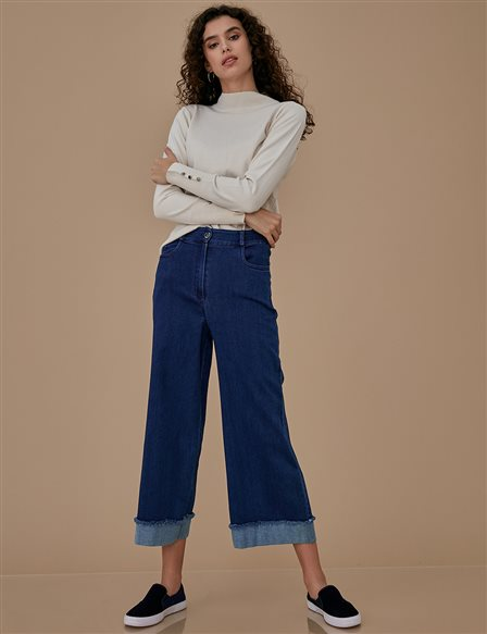 KYR Wide Leg Denim Pants A9 79008 Navy