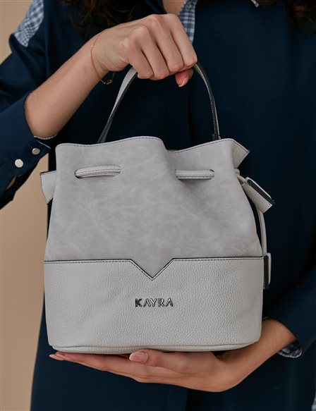 Ruched Bucket Bag A9 CNT24 Grey