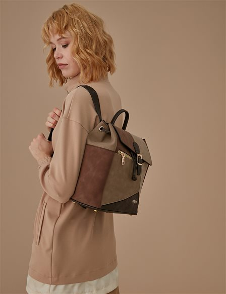 Suede Backpack A9 CNT20 Beige