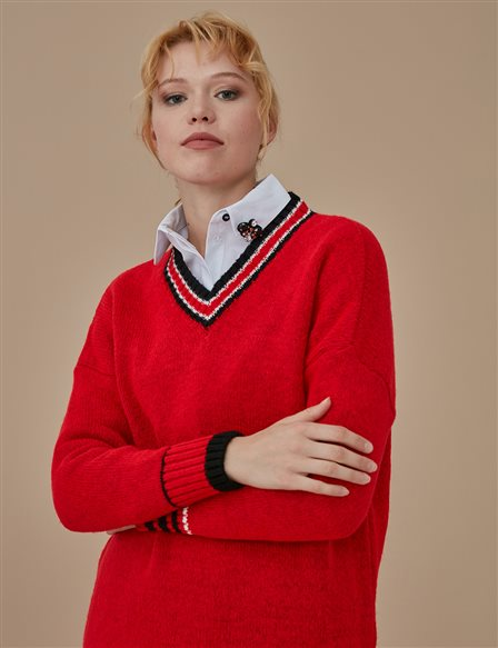V Neck Knitwear A9 TRK10 Red
