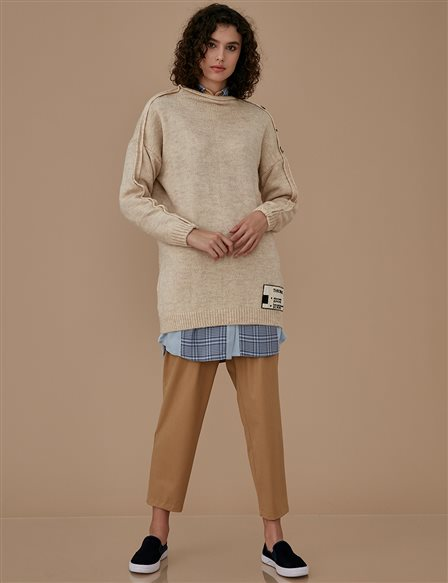 Knitwear With Button Detail A9 TRK17 Beige
