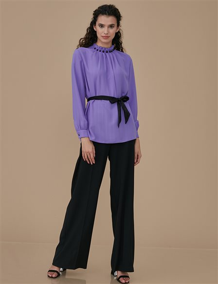 Pleated Collar Blouse A9 10041 Purple
