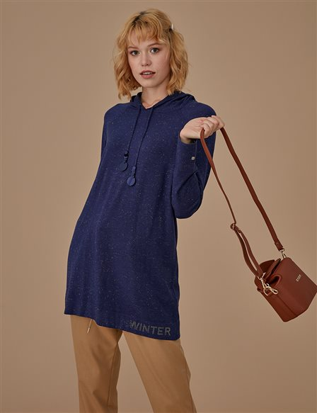 Knitwear Tunic With Hood A9 TRK55 Navy