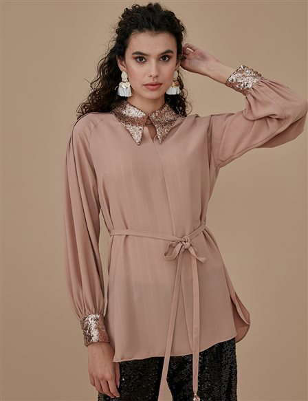 Sequin Sleeve Detailed Tunic A9 21164 Beige