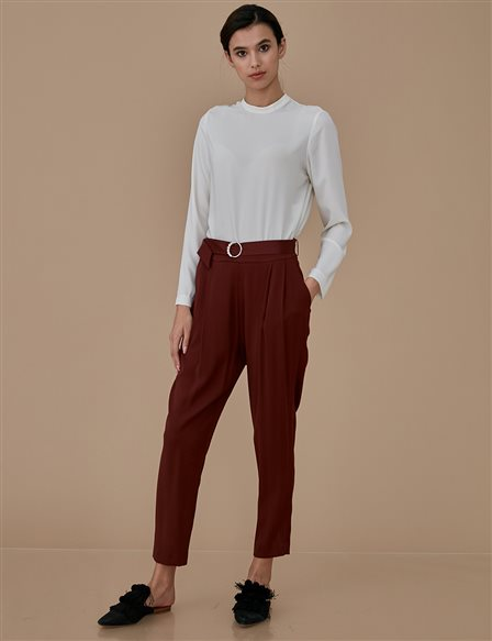Sateen Pants A9 19076 Burgundy