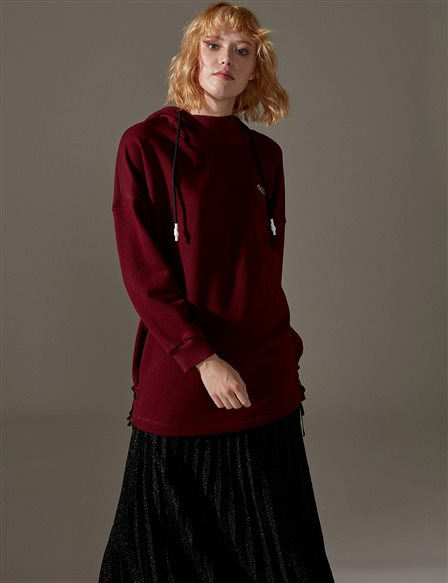 Sweatshirt With Hood A9 21160 Burgundy