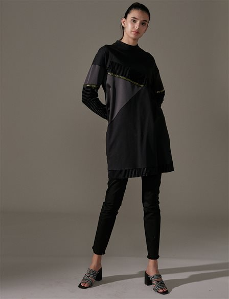 KYR Velvet Detailed Tunic A9 81038 Black