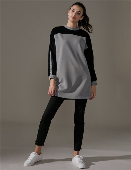 KYR Velvet Sleeve Tunic A9 81045 Grey