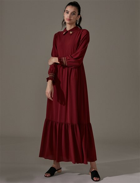 KYR Embroidered Dress A9 83001 Burgundy
