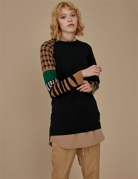 Patterned Knitwear Tunic A9 TRK27 Black