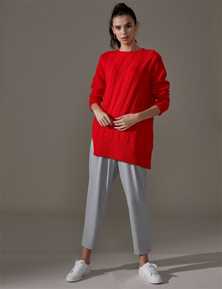 Slit Knitwear Jumper A9 TRK42 Red