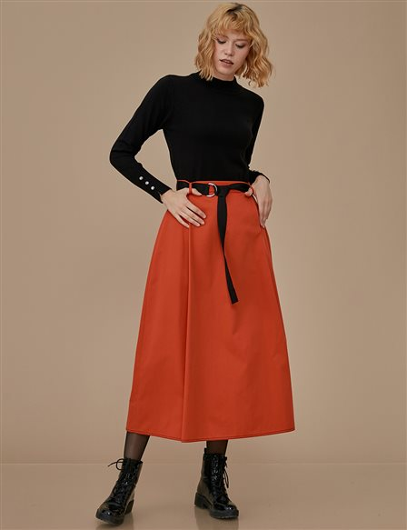 High Waist Skirt With Belt A9 12050 Tile