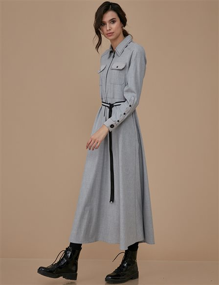 Dress With Zipper A9 23028 Grey