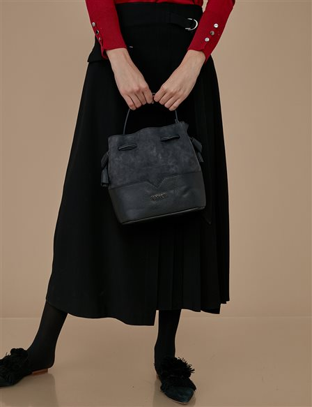 Ruched Bucket Bag A9 CNT24 Black
