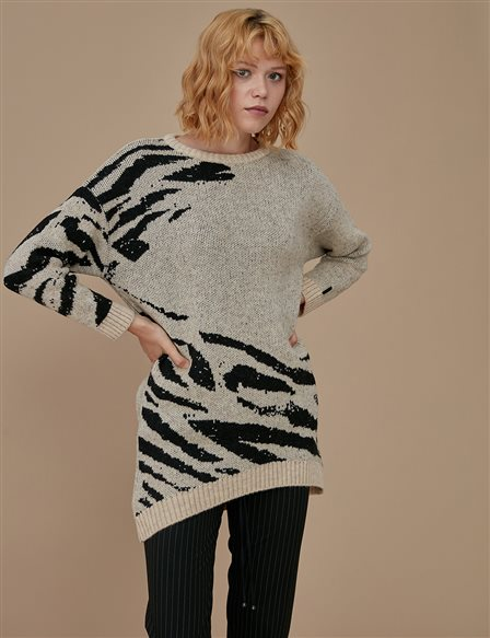 Patterned Knitwear Tunic A9 TRK15