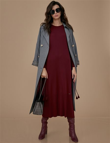 Knitwear Dress A9 TRK18 Burgundy